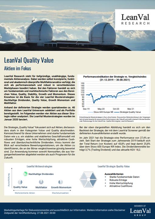 LeanVal Aktien im Fokus Quality Value